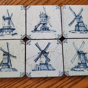Pimpernel Blue Windmill Coasters England Set of 6